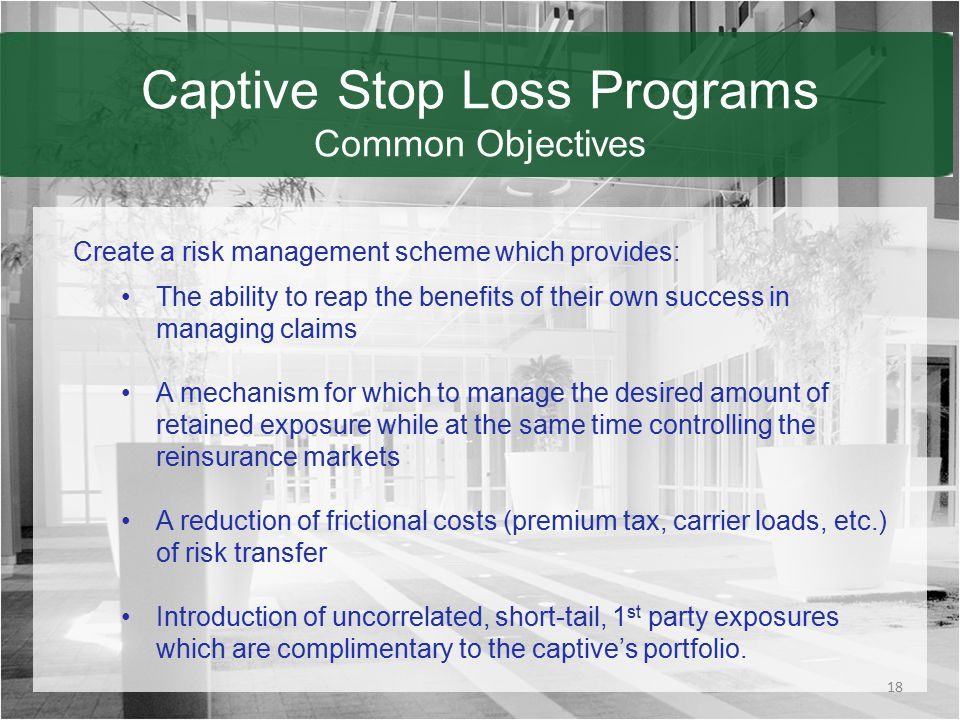 Captive Stop Loss Programs Common Objectives 18 Create a risk management scheme which provides: The ability to reap the benefits of their own success in managing claims A mechanism for which to manage the desired amount of retained exposure while at the same time controlling the reinsurance markets A reduction of frictional costs (premium tax, carrier loads, etc.) of risk transfer Introduction of uncorrelated, short-tail, 1 st party exposures which are complimentary to the captive's portfolio.