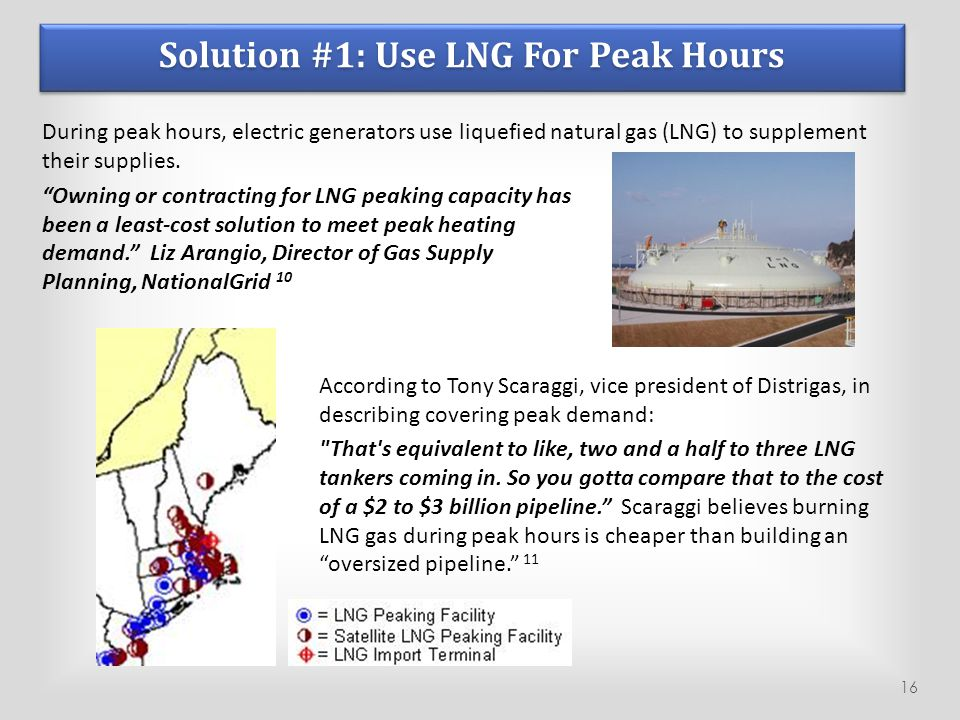 Solution #1: Use LNG For Peak Hours During peak hours, electric generators use liquefied natural gas (LNG) to supplement their supplies.