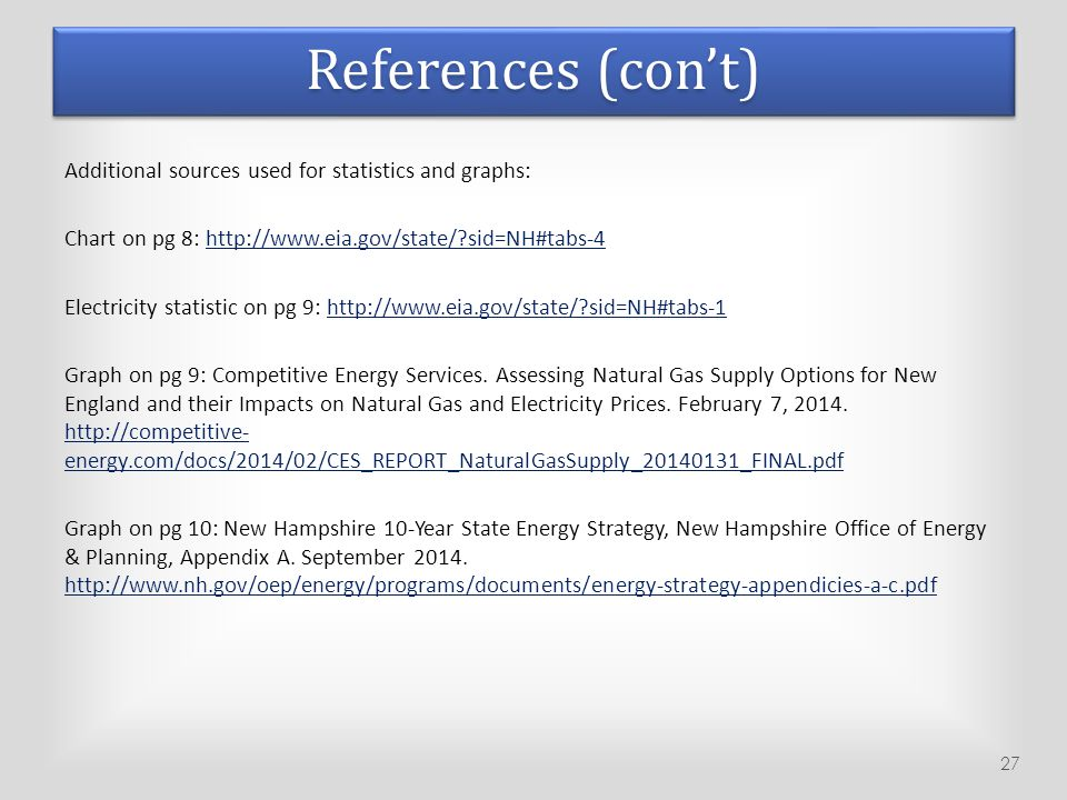 References (con't) Additional sources used for statistics and graphs: Chart on pg 8: http://www.eia.gov/state/?sid=NH#tabs-4http://www.eia.gov/state/?
