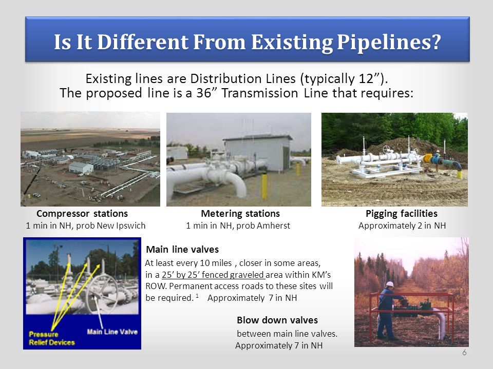 "Is It Different From Existing Pipelines? Existing lines are Distribution Lines (typically 12""). The proposed line is a 36"" Transmission Line that requ"