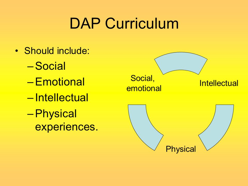 DAP Curriculum Should include: –Social –Emotional –Intellectual –Physical experiences. Intellectual Physical Social, emotional