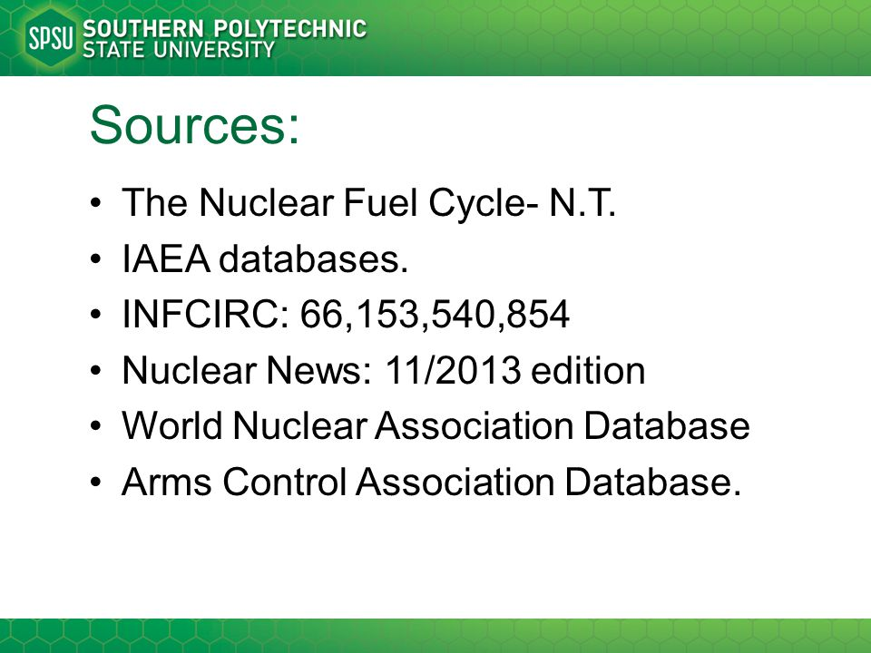 Sources: The Nuclear Fuel Cycle- N.T. IAEA databases. INFCIRC: 66,153,540,854 Nuclear News: 11/2013 edition World Nuclear Association Database Arms Co