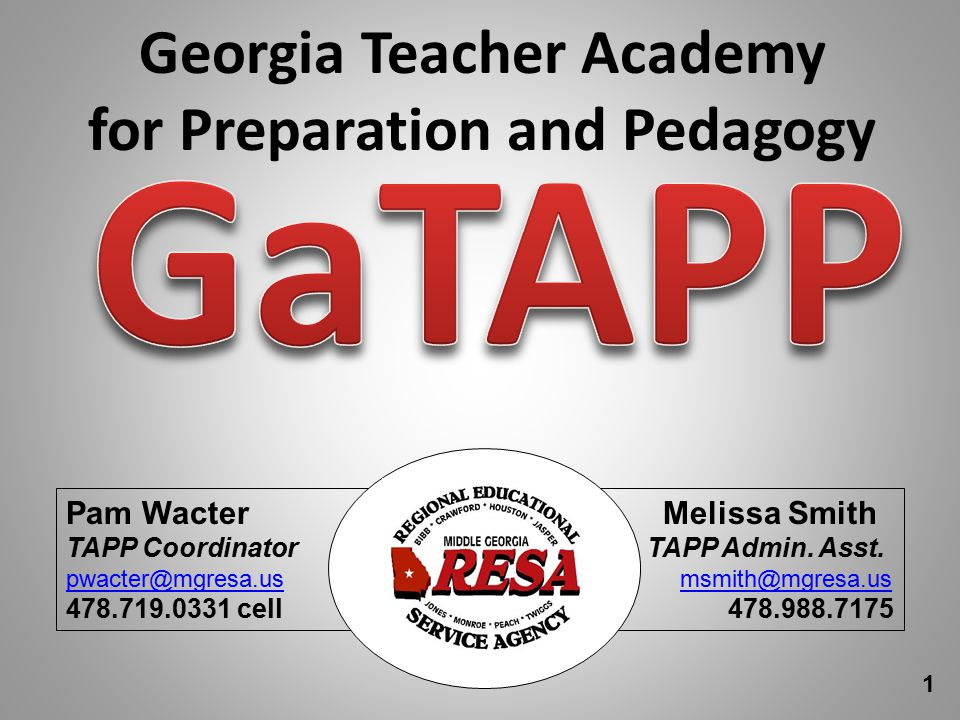 Georgia Teacher Academy for Preparation and Pedagogy Pam Wacter Melissa Smith TAPP Coordinator TAPP Admin.