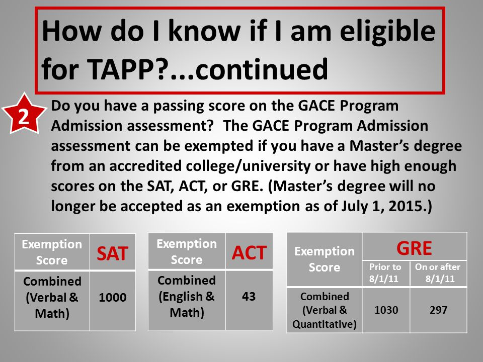 How do I know if I am eligible for TAPP ...continued Do you have a passing score on the GACE Program Admission assessment.