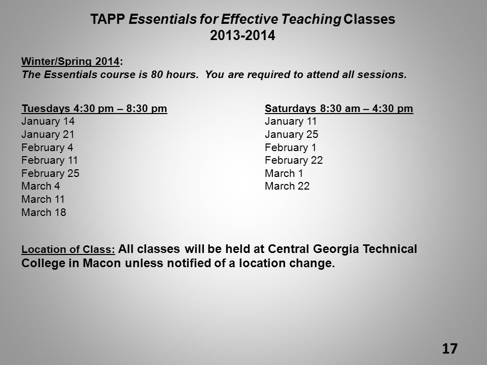TAPP Essentials for Effective Teaching Classes 2013-2014 Winter/Spring 2014: The Essentials course is 80 hours.