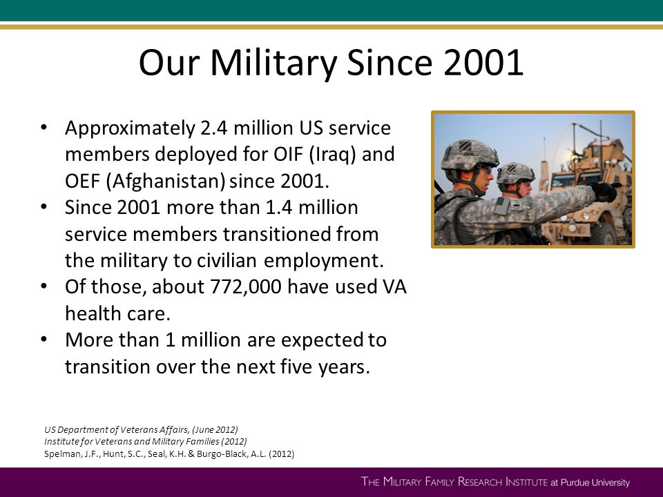 Our Military Since 2001 Approximately 2.4 million US service members deployed for OIF (Iraq) and OEF (Afghanistan) since 2001. Since 2001 more than 1.