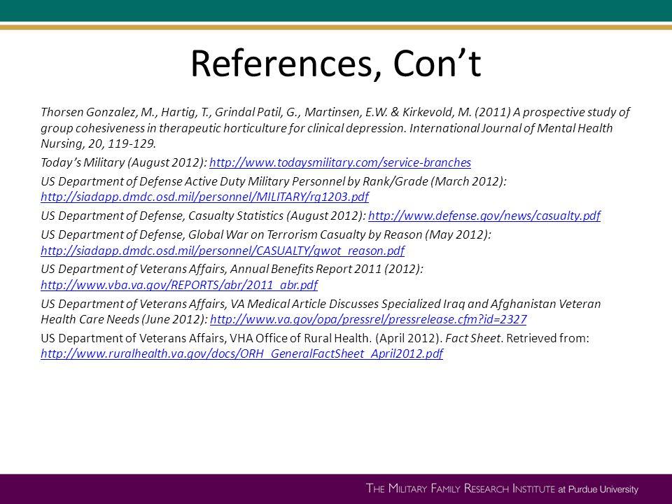 References, Con't Thorsen Gonzalez, M., Hartig, T., Grindal Patil, G., Martinsen, E.W.