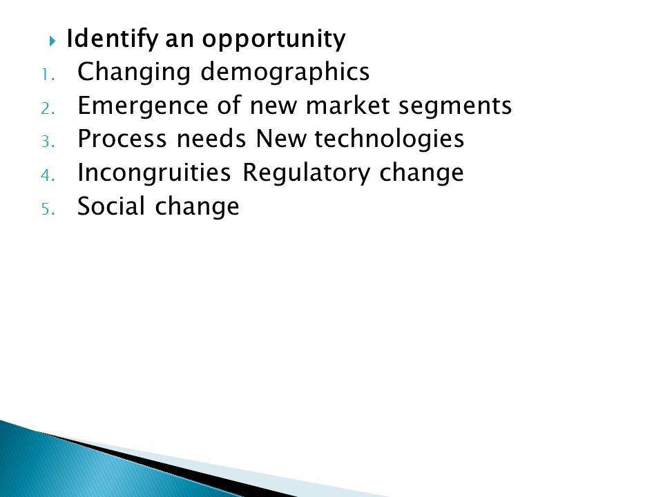  Identify an opportunity 1. Changing demographics 2. Emergence of new market segments 3. Process needs New technologies 4. Incongruities Regulatory c