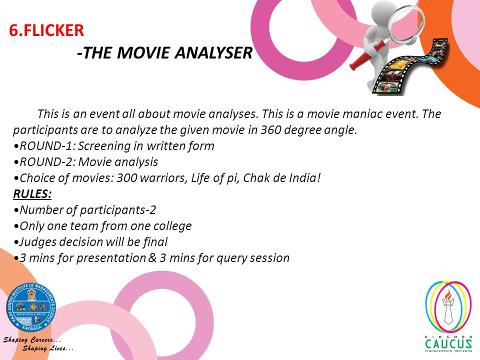 This is an event all about movie analyses. This is a movie maniac event.