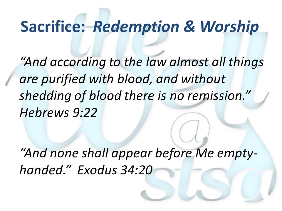 And according to the law almost all things are purified with blood, and without shedding of blood there is no remission. Hebrews 9:22 And none shall appear before Me empty- handed. Exodus 34:20 Sacrifice: Redemption & Worship