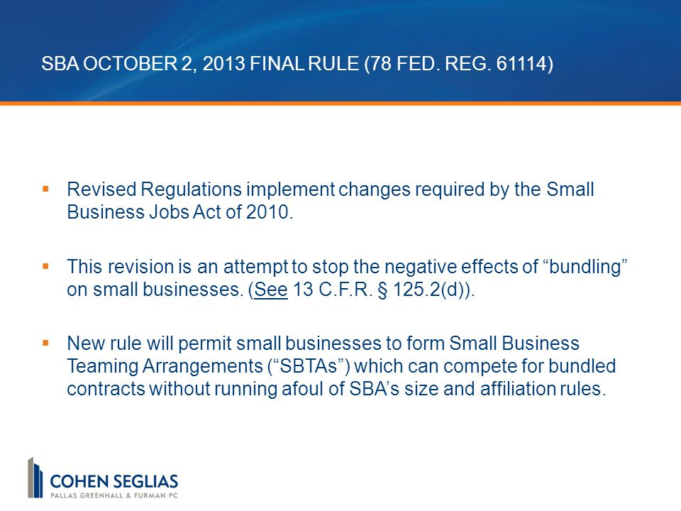 SBA OCTOBER 2, 2013 FINAL RULE (78 FED. REG.