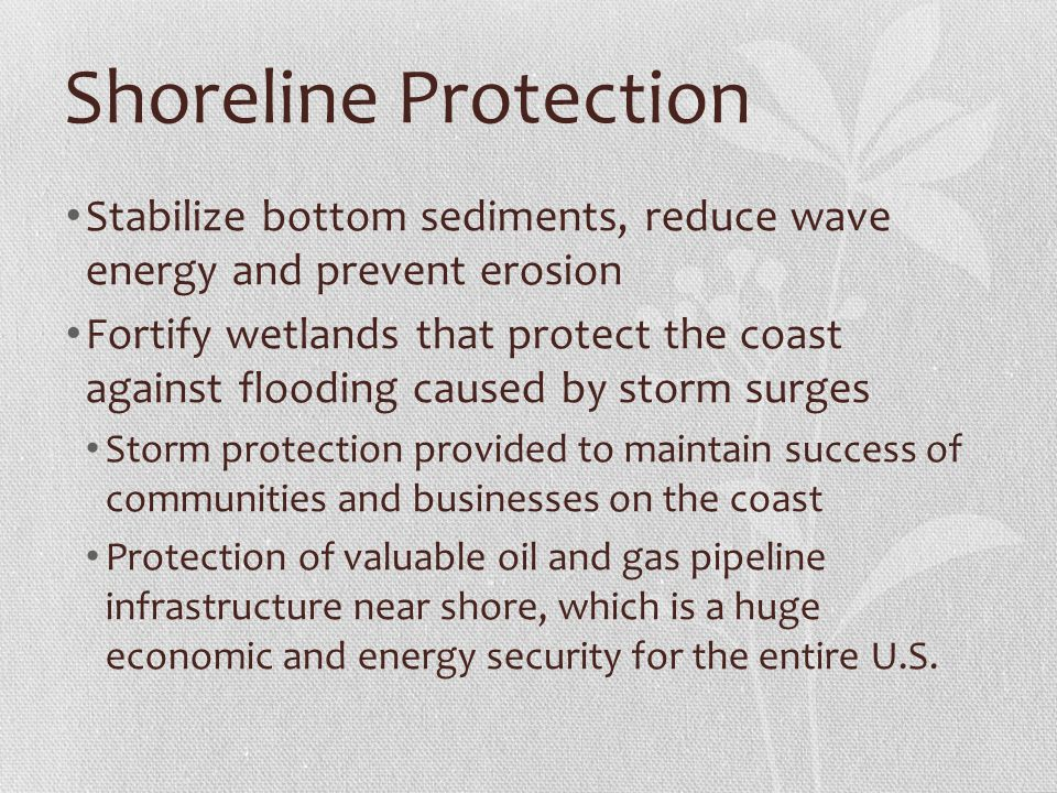 Shoreline Protection Stabilize bottom sediments, reduce wave energy and prevent erosion Fortify wetlands that protect the coast against flooding caused by storm surges Storm protection provided to maintain success of communities and businesses on the coast Protection of valuable oil and gas pipeline infrastructure near shore, which is a huge economic and energy security for the entire U.S.
