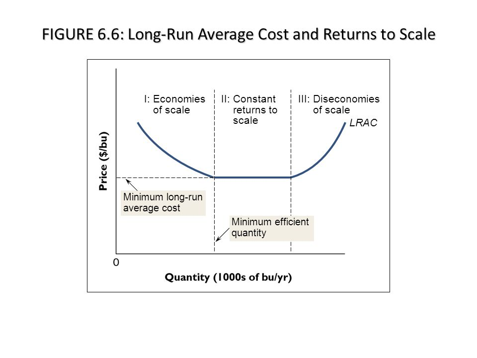 FIGURE 6.6: Long-Run Average Cost and Returns to Scale I: Economies of scale II: Constant returns to scale III: Diseconomies of scale LRAC Minimum long-run average cost Minimum efficient quantity © 2012 McGraw-Hill Ryerson Limited Ch6-12 LO5: Economies of scale, constant returns to scale, and diseconomies of scale