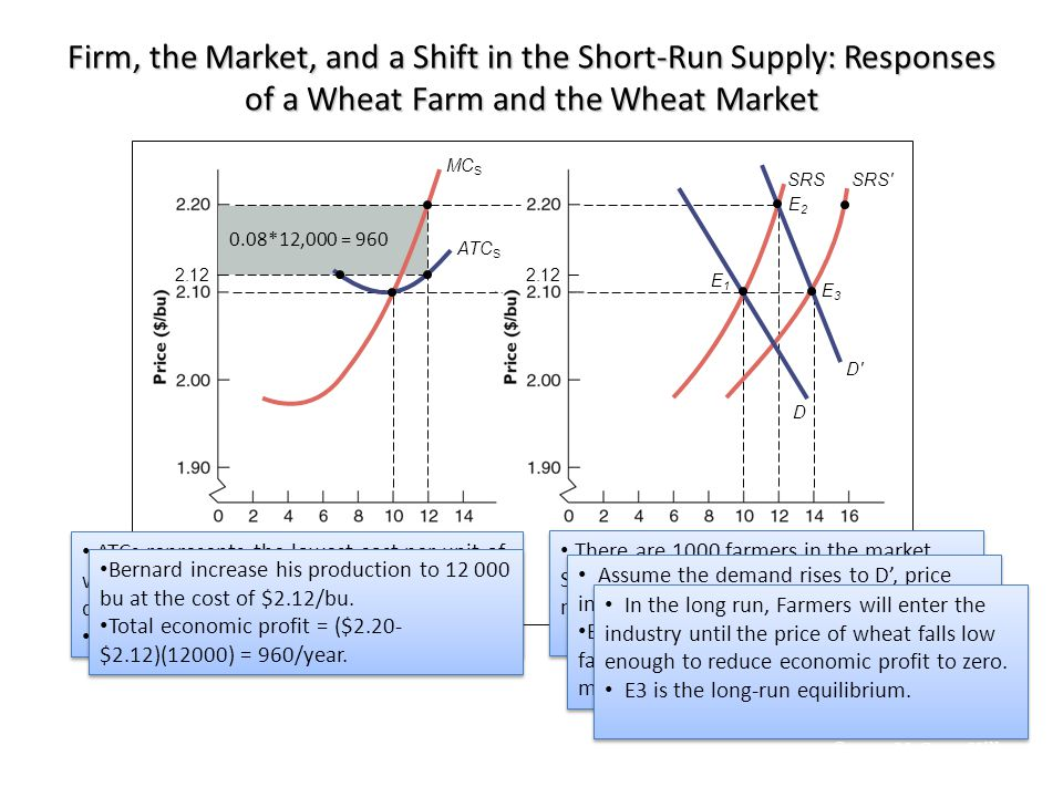 Firm, the Market, and a Shift in the Short-Run Supply: Responses of a Wheat Farm and the Wheat Market 0.08*12,000 = 960 2.12 E1E1 E2E2 E3E3 ATC S MC S SRSSRS′ D′ D ATCs represents the lowest cost per unit of wheat that can be achieved for any given quantity of wheat.