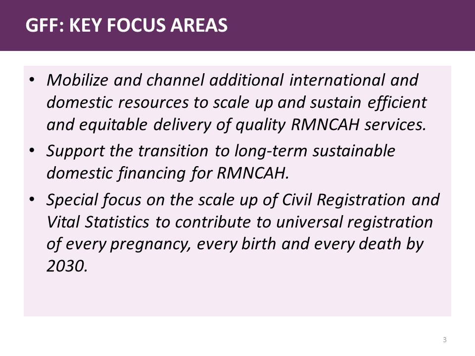 GFF: KEY FOCUS AREAS Mobilize and channel additional international and domestic resources to scale up and sustain efficient and equitable delivery of quality RMNCAH services.