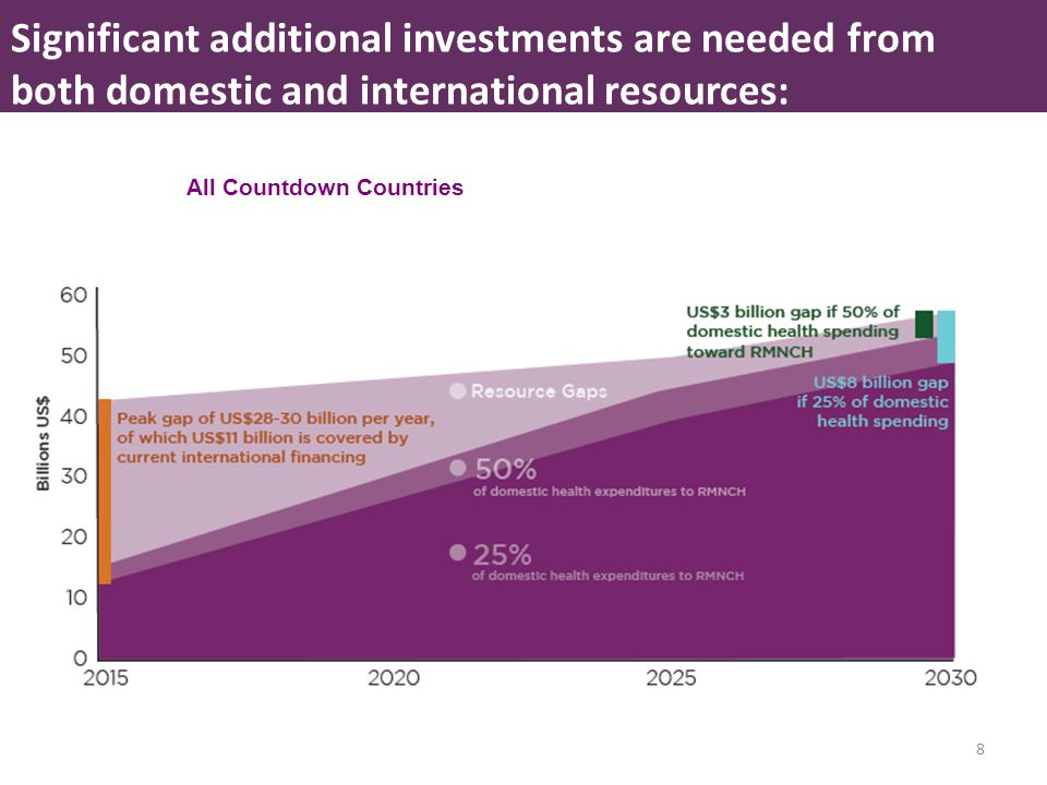 8 All Countdown Countries Significant additional investments are needed from both domestic and international resources: