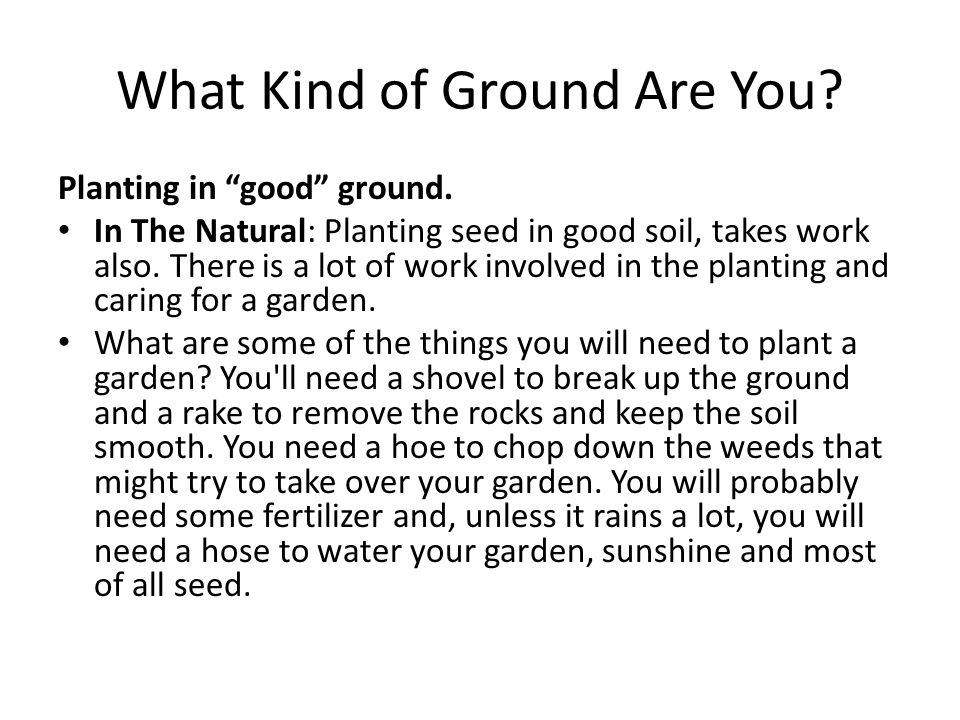 What Kind of Ground Are You. Planting in good ground.