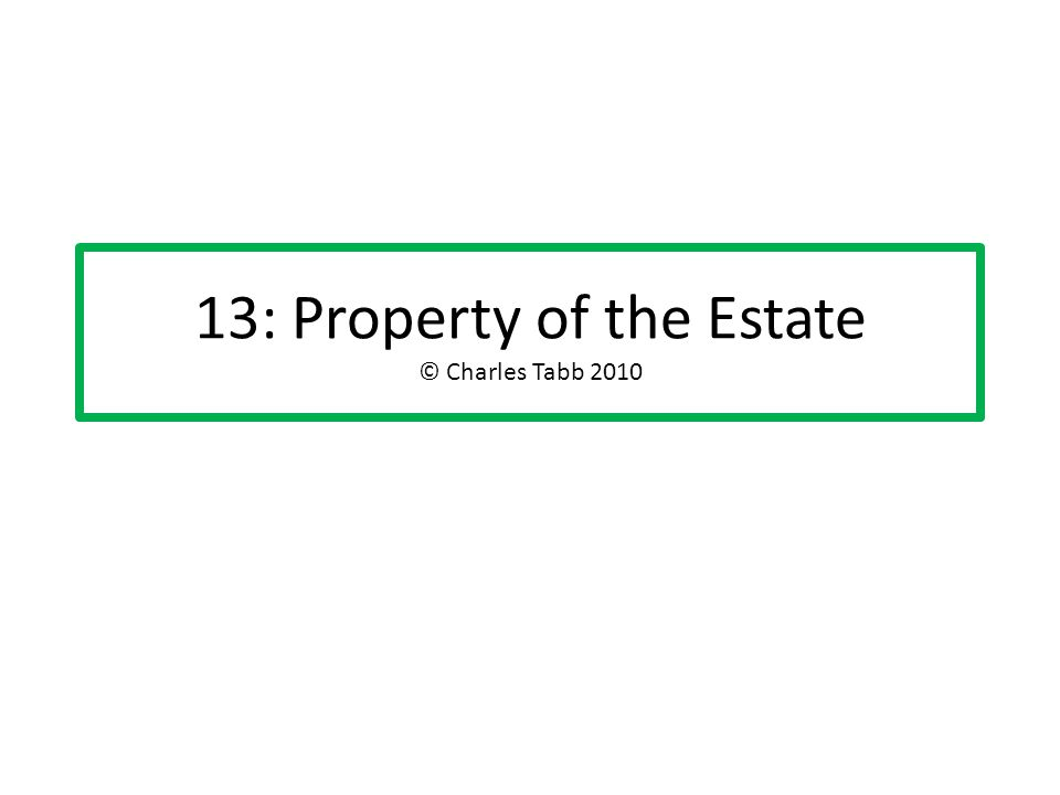 13: Property of the Estate © Charles Tabb 2010