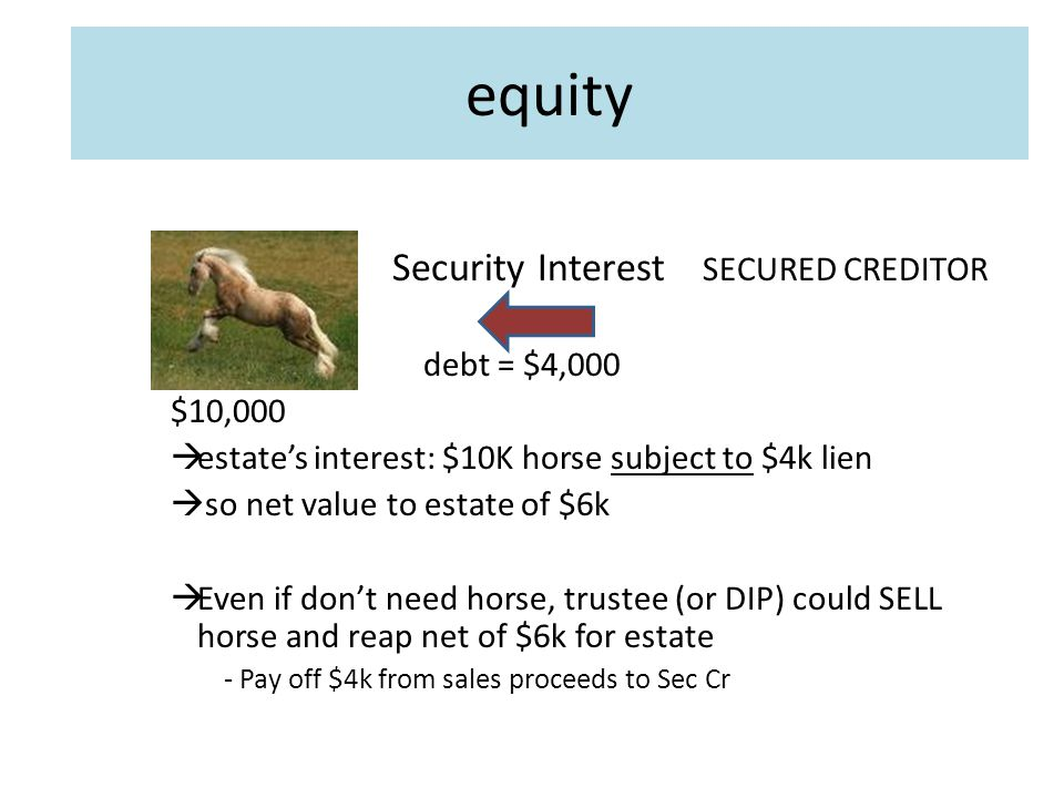 equity Security Interest SECURED CREDITOR debt = $4,000 $10,000  estate's interest: $10K horse subject to $4k lien  so net value to estate of $6k  Even if don't need horse, trustee (or DIP) could SELL horse and reap net of $6k for estate - Pay off $4k from sales proceeds to Sec Cr