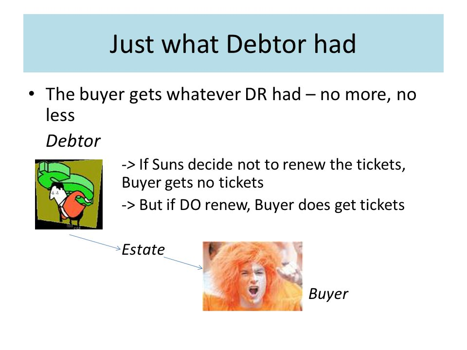 Just what Debtor had The buyer gets whatever DR had – no more, no less Debtor -> If Suns decide not to renew the tickets, Buyer gets no tickets -> But if DO renew, Buyer does get tickets Estate Buyer