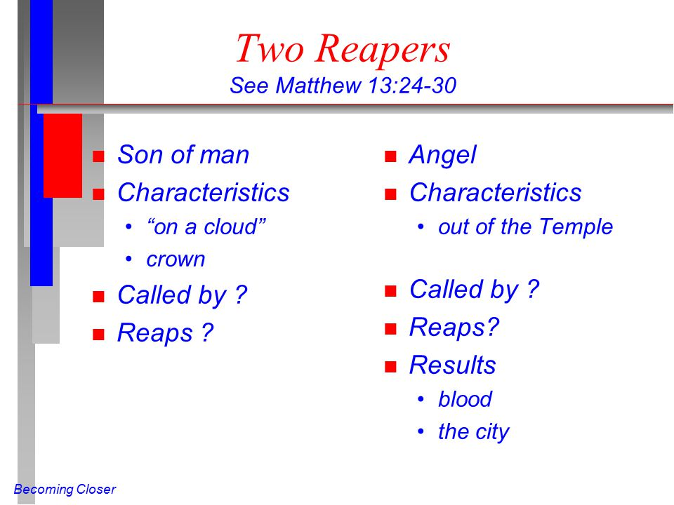 """Becoming Closer Two Reapers See Matthew 13:24-30 n Son of man n Characteristics """"on a cloud"""" crown n Called by ? n Reaps ? n Angel n Characteristics o"""