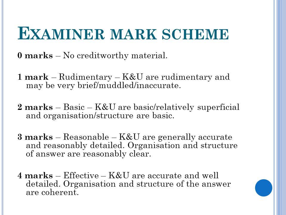 E XAMINER MARK SCHEME 0 marks – No creditworthy material.