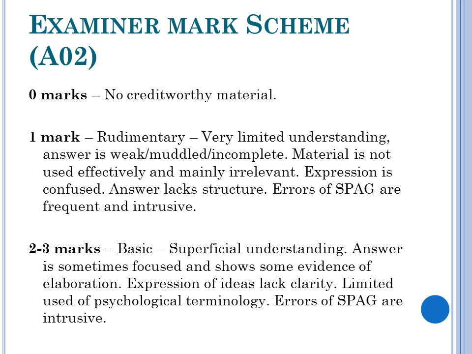 E XAMINER MARK S CHEME (A02) 0 marks – No creditworthy material.