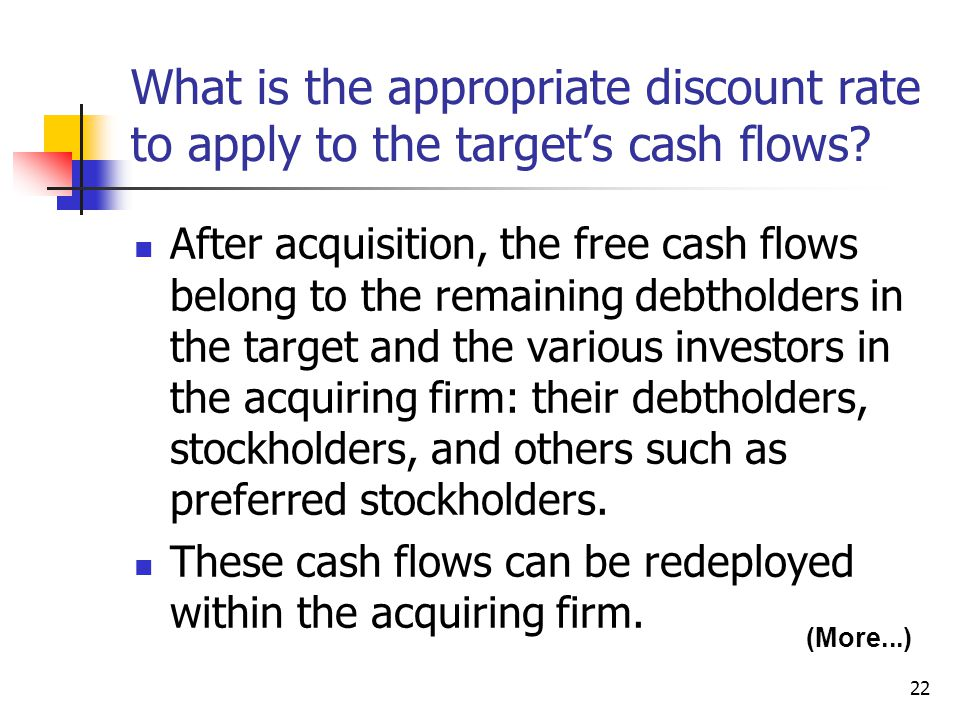 22 What is the appropriate discount rate to apply to the target's cash flows? After acquisition, the free cash flows belong to the remaining debtholde