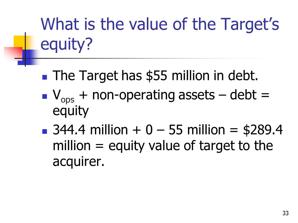 33 What is the value of the Target's equity? The Target has $55 million in debt. V ops + non-operating assets – debt = equity 344.4 million + 0 – 55 m