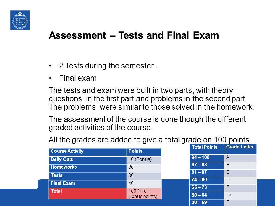 Assessment – Tests and Final Exam 2 Tests during the semester.
