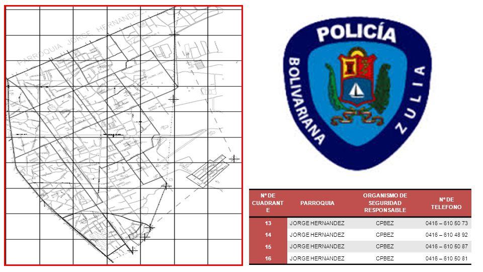 Nº DE CUADRANTE PARROQUIA ORGANISMO DE SEGURIDAD RESPONSABLE Nº DE TELEFONO 17PUNTA GORDA CPBEZ0416 – 610 50 08