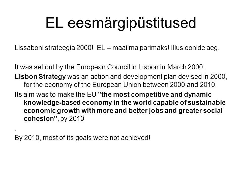 EL eesmärgipüstitused Lissaboni strateegia 2000. EL – maailma parimaks.