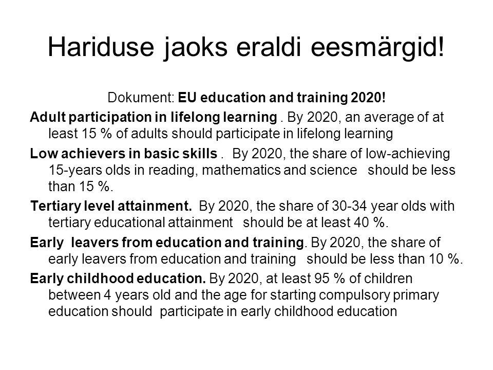 Hariduse jaoks eraldi eesmärgid. Dokument: EU education and training 2020.