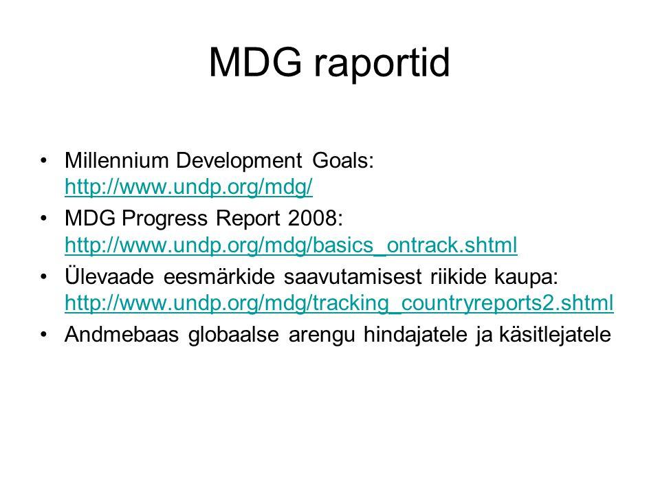 MDG raportid Millennium Development Goals: http://www.undp.org/mdg/ http://www.undp.org/mdg/ MDG Progress Report 2008: http://www.undp.org/mdg/basics_ontrack.shtml http://www.undp.org/mdg/basics_ontrack.shtml Ülevaade eesmärkide saavutamisest riikide kaupa: http://www.undp.org/mdg/tracking_countryreports2.shtml http://www.undp.org/mdg/tracking_countryreports2.shtml Andmebaas globaalse arengu hindajatele ja käsitlejatele