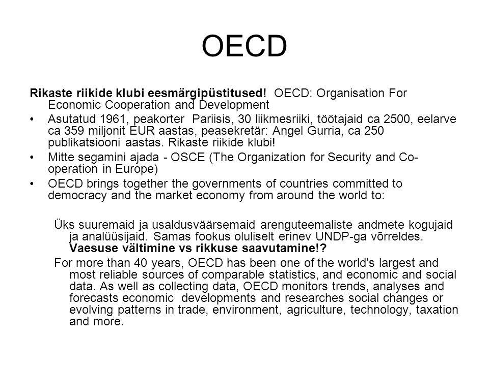 OECD Rikaste riikide klubi eesmärgipüstitused.