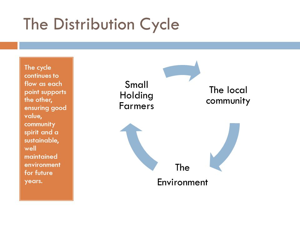 The Distribution Cycle The cycle continues to flow as each point supports the other, ensuring good value, community spirit and a sustainable, well mai
