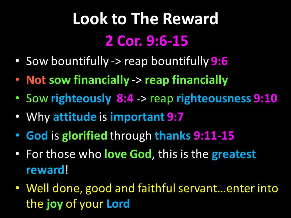 Look to The Reward 2 Cor.