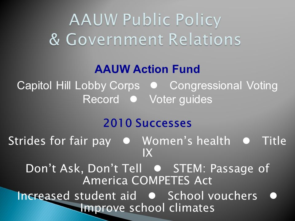 2010 Successes Strides for fair pay  Women's health  Title IX Don't Ask, Don't Tell  STEM: Passage of America COMPETES Act Increased student aid 