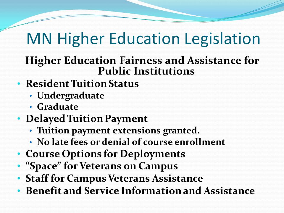 Dependent Education Benefits State Tuition Reimbursement Spouses are authorized to use the remaining balance of a service member's STR Spouse can use up to 12 semester credits per year The Member must have accumulated 8 years of qualifying service in the MANG.