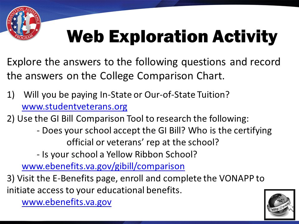 Web Exploration Activity Explore the answers to the following questions and record the answers on the College Comparison Chart.