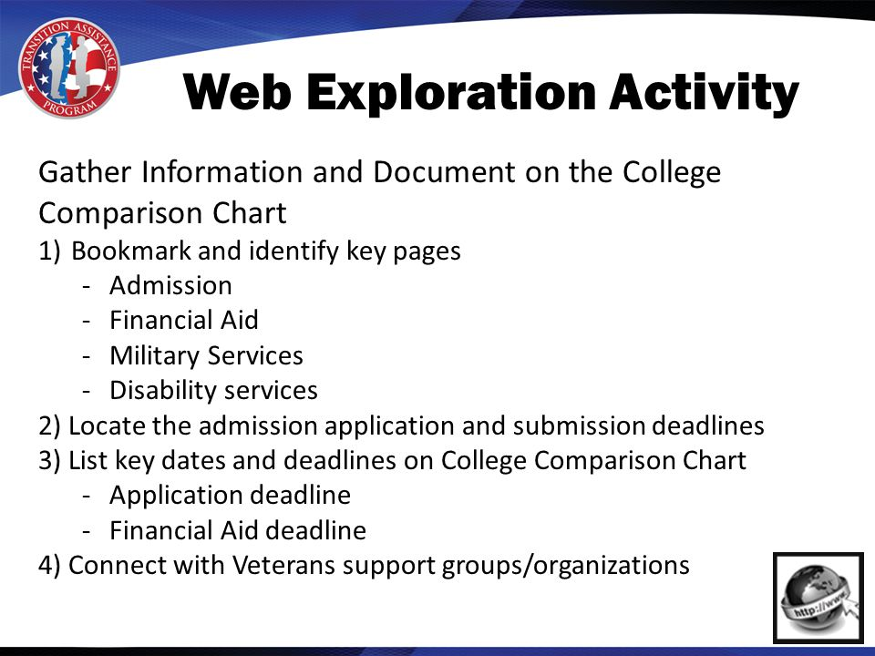 Web Exploration Activity Gather Information and Document on the College Comparison Chart 1)Bookmark and identify key pages -Admission -Financial Aid -Military Services -Disability services 2) Locate the admission application and submission deadlines 3) List key dates and deadlines on College Comparison Chart -Application deadline -Financial Aid deadline 4) Connect with Veterans support groups/organizations