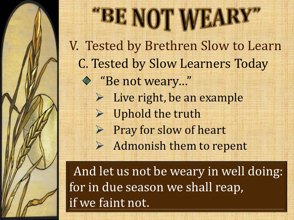 V. Tested by Brethren Slow to Learn C.