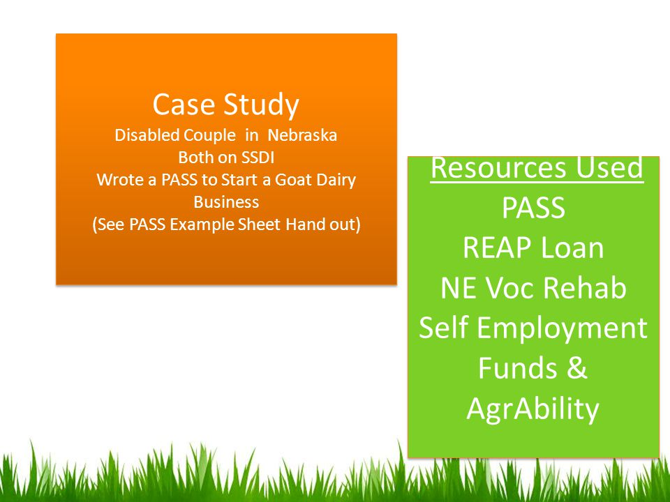 Case Study Disabled Couple in Nebraska Both on SSDI Wrote a PASS to Start a Goat Dairy Business (See PASS Example Sheet Hand out) Case Study Disabled Couple in Nebraska Both on SSDI Wrote a PASS to Start a Goat Dairy Business (See PASS Example Sheet Hand out) Resources Used PASS REAP Loan NE Voc Rehab Self Employment Funds & AgrAbility Resources Used PASS REAP Loan NE Voc Rehab Self Employment Funds & AgrAbility
