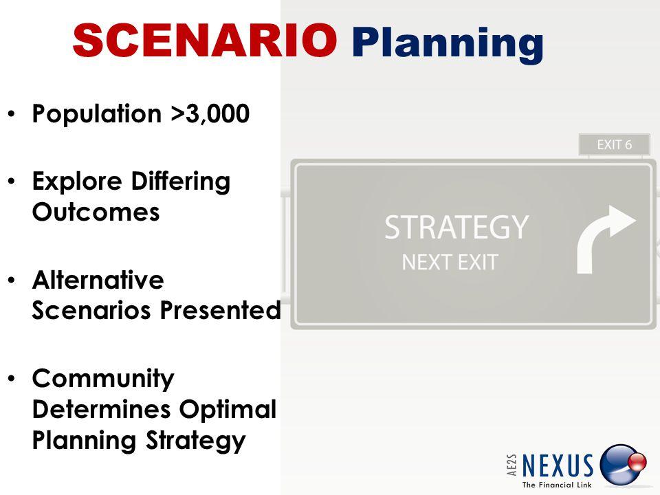 SCENARIO Planning Population >3,000 Explore Differing Outcomes Alternative Scenarios Presented Community Determines Optimal Planning Strategy