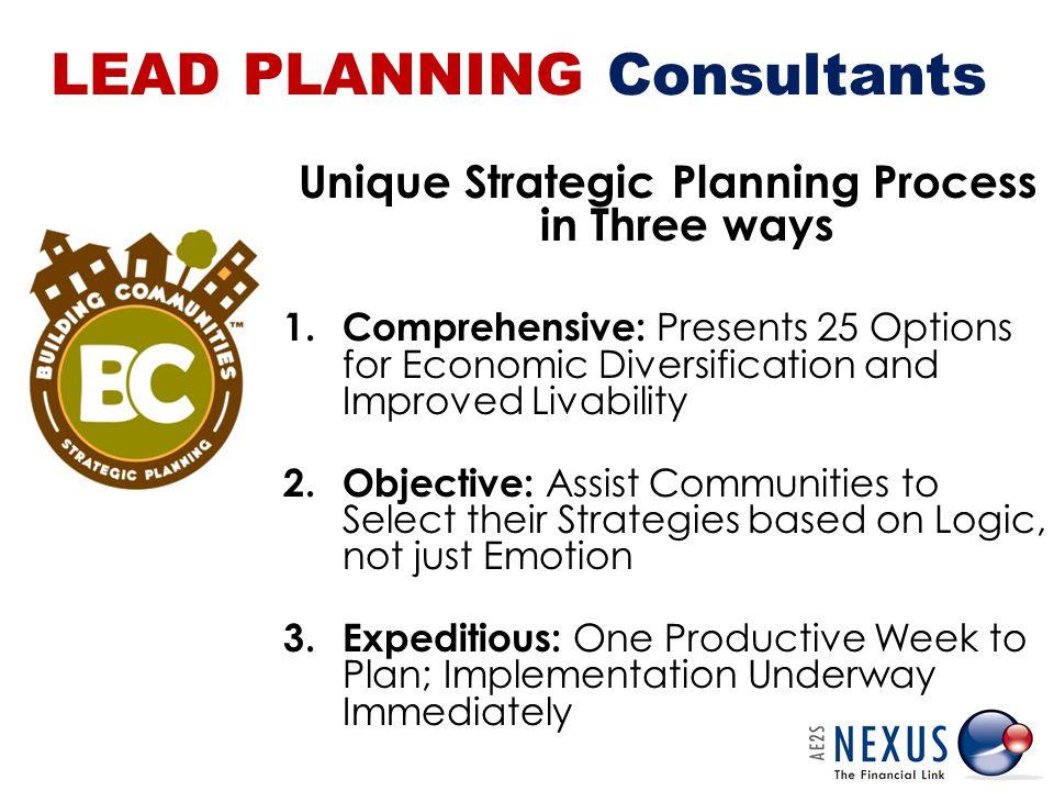 LEAD PLANNING Consultants Unique Strategic Planning Process in Three ways 1.