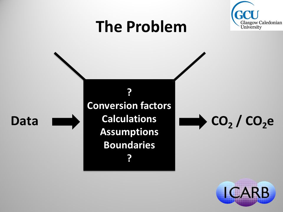 DataCO 2 / CO 2 e .Conversion factors Calculations Assumptions Boundaries .