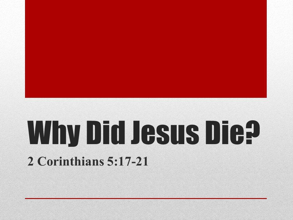 Introduction Why Did Jesus Die.