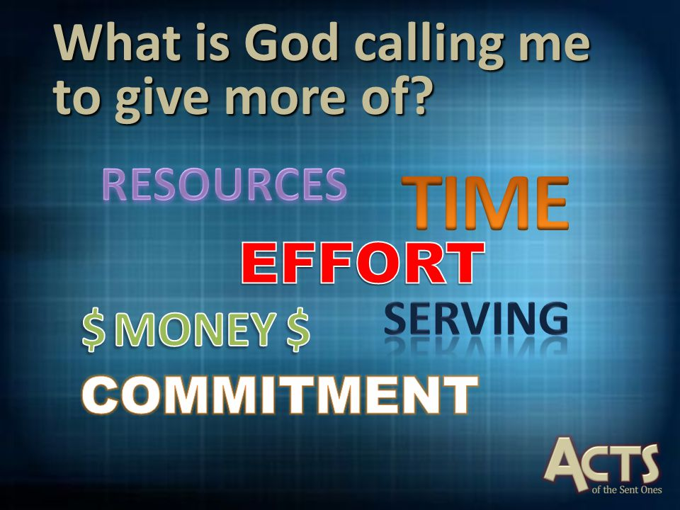 What is God calling me to give more of