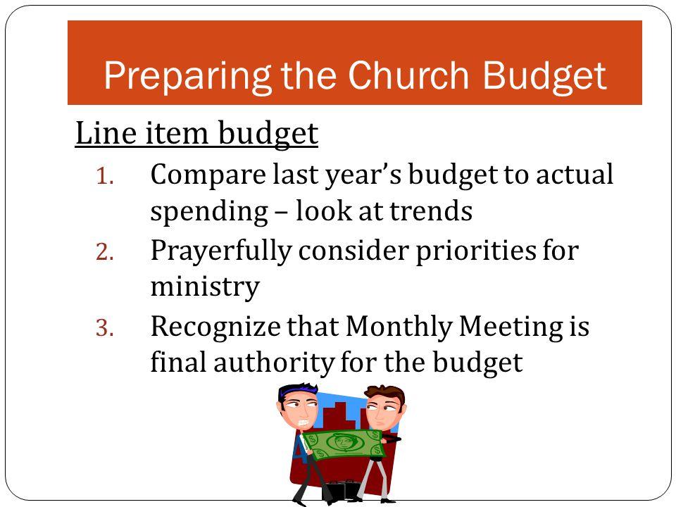 Preparing the Church Budget Line item budget 1.