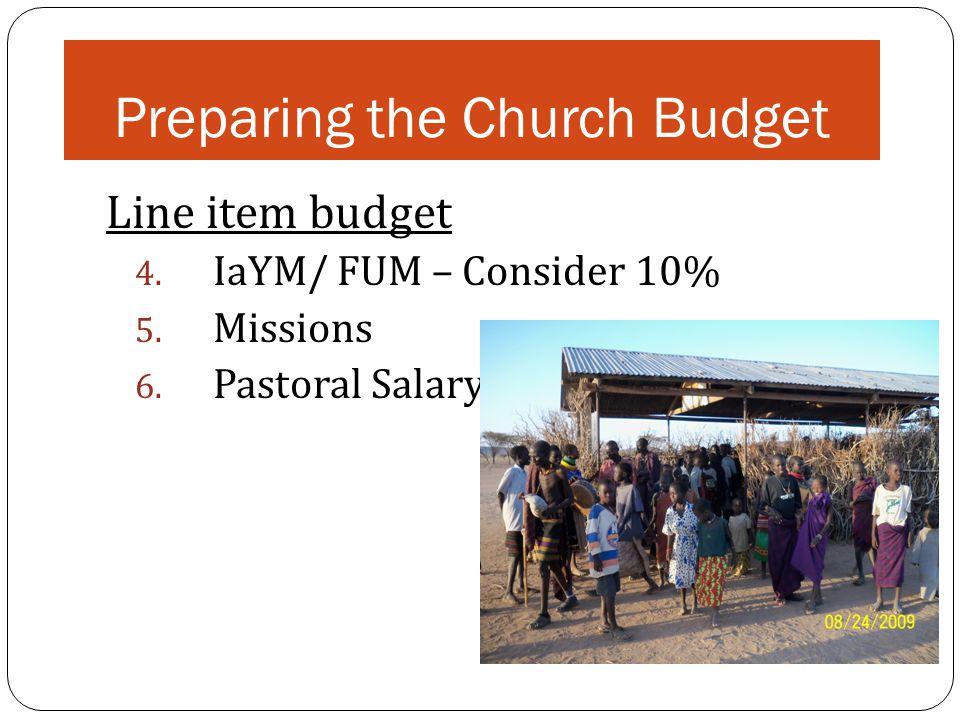 Preparing the Church Budget Line item budget 4. IaYM/ FUM – Consider 10% 5.